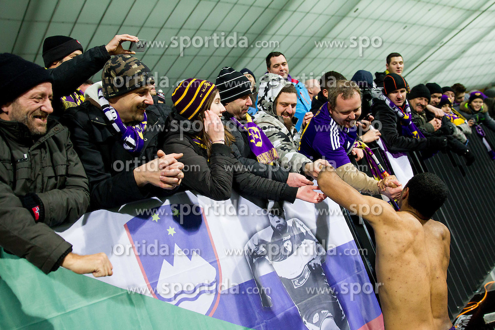 Fans of Maribor celebrate with Marcos Tavares #9 of Maribor after winning during football match between NK Maribor and Wigan Athletic FC (ENG) in Round 6 of Group D of UEFA Europa League 2014, on December 12, 2013 in Stadion Ljudski vrt, Maribor, Slovenia. Maribor won against Wigan 2-1 and qualified to next Stage. Photo by Vid Ponikvar / Sportida