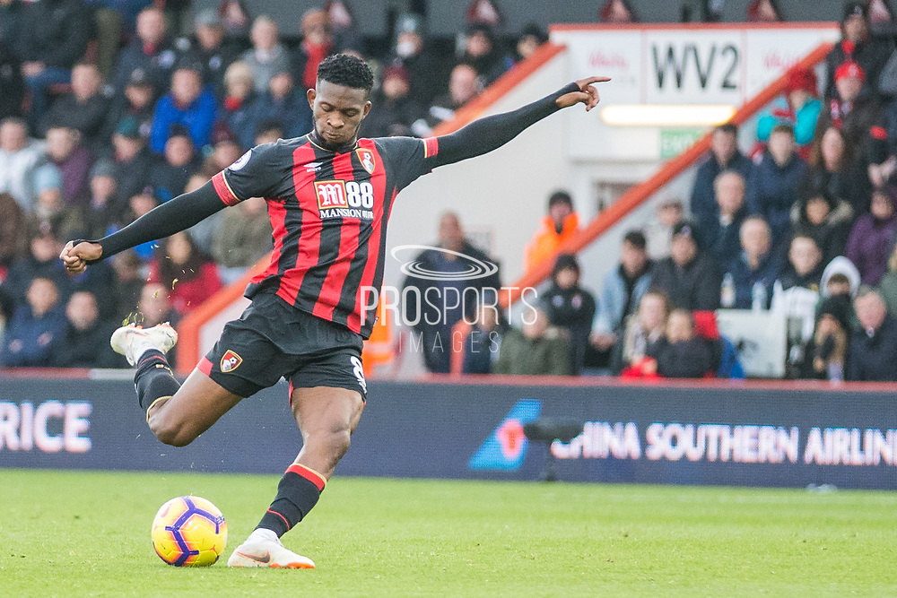 Jefferson Lerma (Bournemouth) attempt at goal during the Premier League match between Bournemouth and Arsenal at the Vitality Stadium, Bournemouth, England on 25 November 2018.