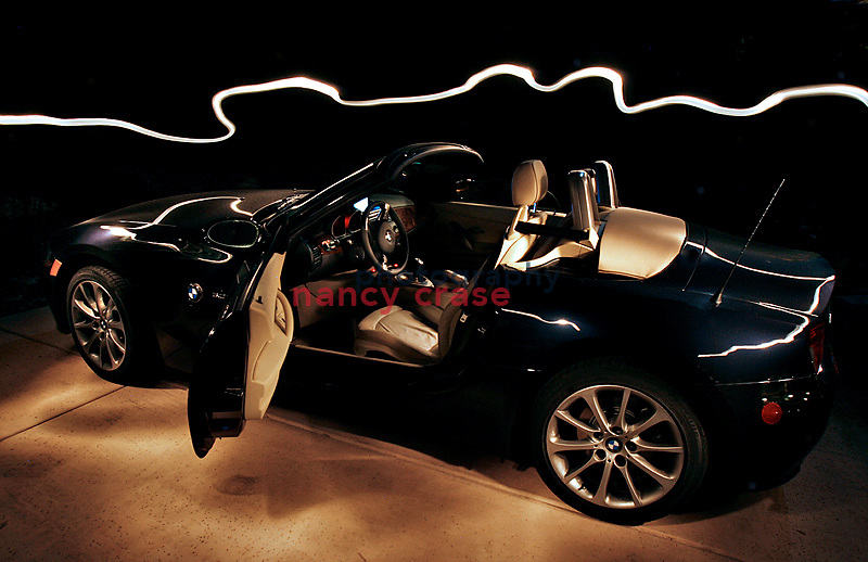 A 2006 BMW Z4 light painted with a flashlight.