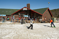 Quieter than normal school vacation week visitors at Gunstock on Thursday afternoon.  (Karen Bobotas/for the Laconia Daily Sun)