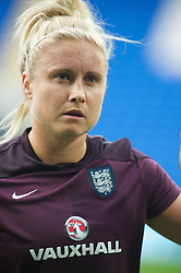 CARDIFF, WALES - Tuesday, August 21, 2014: England's captain Steph Houghton warms-up before the FIFA Women's World Cup Canada 2015 Qualifying Group 6 match against Wales at the Cardiff City Stadium. (Pic by Ian Cook/Propaganda)