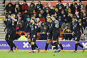 Charlton Athletic striker Lyle Taylor celebrates after scoring during the EFL Sky Bet Championship match between Nottingham Forest and Charlton Athletic at the City Ground, Nottingham, England on 11 February 2020.