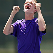 Jordan Lyden, of Desert Hills celebrates as he wins the state 3A tennis singles championship over Hong Pei Lu of Juan Diego at the BYU Tennis courts in Provo, Utah, Saturday, May 15, 2010 . August Miller, Deseret News .
