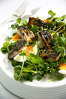 Tom Aikens Smoked mackerel salad  photographed at his Chelsea restaurant for M&S.