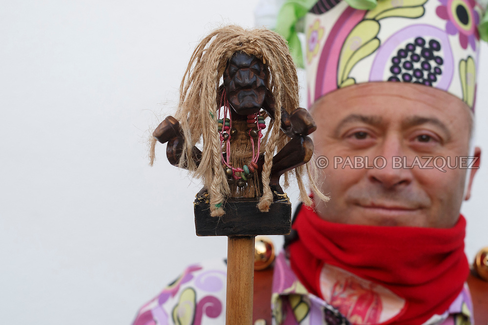 2018/02/02. ALMONACID DEL MARQUESADO, SPAIN - JANUARY 16: Worshipper Julián Rodrigo dressed as Diablo 'Devil' poses with his porra 'baton' during the Endiablada 'The Brotherhood of the Devils' festival on February 2, 2018 in Almonacid del Marquesado, Cuenca province, Spain. La Endiablada is a centenary tradition of unknown origins celebrated on Virgen de la Candelaria 'Our Lady of Candelaria' and San Blas 'Saint Blaise' days. The Diablos wear colourful clothes, a hat and carry bells and personalised porras 'batons'. (Photo by Pablo Blazquez Dominguez)