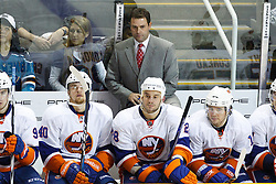 November 11, 2010; San Jose, CA, USA;  New York Islanders head coach Scott Gordon on the bench against the San Jose Sharks during the second period at HP Pavilion. Mandatory Credit: Jason O. Watson / US PRESSWIRE