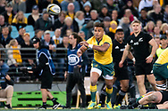 SYDNEY, NSW - AUGUST 18: Australian player Will Genia (9) passes the ball at the Bledisloe Cup rugby test match between Australia and New Zealand at ANZ Stadium in Sydney on August 18, 2018. (Photo by Speed Media/Icon Sportswire)