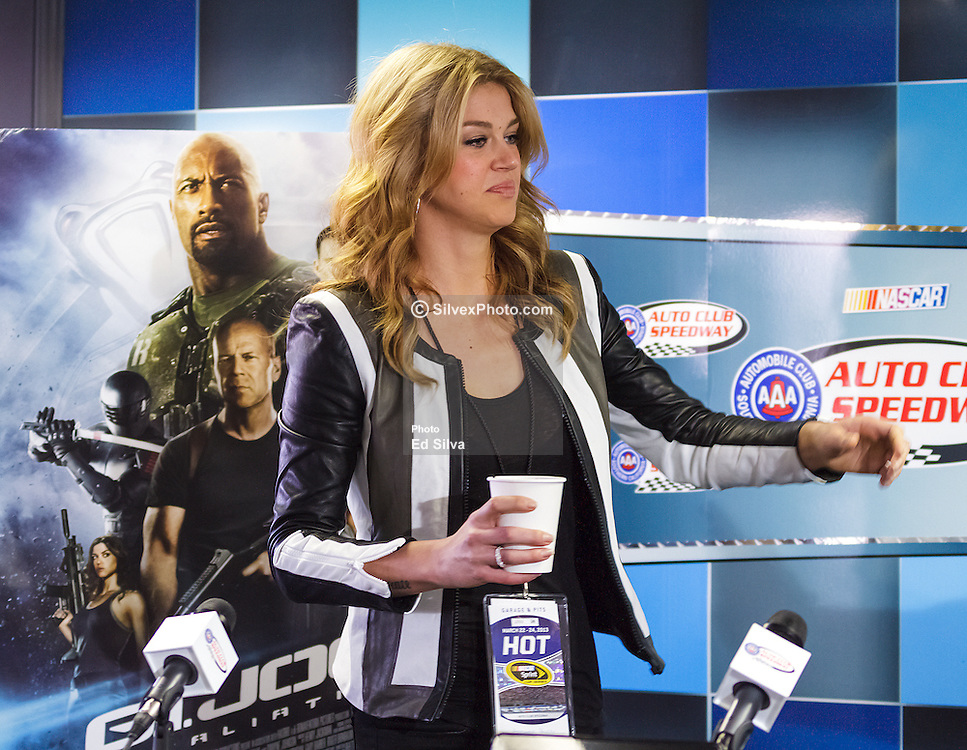 Fontana, CA/USA (Sunday, March 24, 2013) -  'G.I. Joe: Retaliation' Star Adrianne Palicki during pre-race media conference at the Auto Club Speedway media center. She and co-star D.J. Cotrona will serve as Grand Marshals for the Auto Club 400 at Auto Club Speedway. PHOTO © Eduardo E. Silva/SILVEX.PHOTOSHELTER.COM.