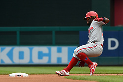 May 6, 2018 - Washington, DC, U.S. - WASHINGTON, DC - MAY 06:  Philadelphia Phillies center fielder Odubel Herrera (37) goes into second base with a double during the game between the Philadelphia Phillies and the Washington Nationals on May 6, 2018, at Nationals Park, in Washington D.C.  The Washington Nationals defeated the Philadelphia Phillies, 5-4.  (Photo by Mark Goldman/Icon Sportswire) (Credit Image: © Mark Goldman/Icon SMI via ZUMA Press)