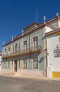 Historic Portuguese building facade of ceramic tiles Azulejo pattern, Castro Verde, Baixo Alentejo, Portugal, southern Europe