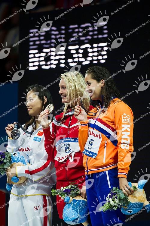 LU Ying CHN silver medal, OTTESEN GRAY Jeanette DEN gold medal, KROMOWIDJOJO Ranomi NED bronze medal<br /> Women's 50m butterfly final<br /> 15th FINA World Aquatics Championships<br /> Palau Sant Jordi, Barcelona (Spain) 03/08/2013 <br /> &copy; Giorgio Perottino / Deepbluemedia.eu / Insidefoto