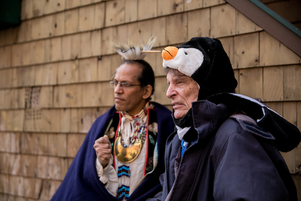 NEW YORK, NY - DECEMBER 30, 2016: Anthony Jay Van Dunk, a former chief of the Lenape tribe and Jean-Louis Bourgeois pose for a portrait in front of the building at 6 Weehawken Street, a property that Bourgeois is donating to Van Dunk, in New York, New York. CREDIT: Sam Hodgson for The New York Times.