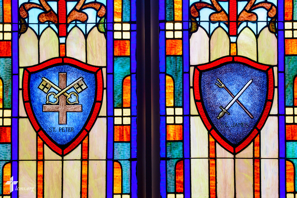 Stained glass depicting St. Peter and St. James at St. Paul Lutheran Church, San Antonio, Texas on Wednesday, Aug. 2, 2017, in San Antonio. LCMS Communications/Erik M. Lunsford