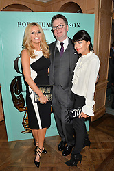 Left to right, TESS DALY, EWAN VENTERS and CLAUDIA WINKLEMAN at a party hosted by Ewan Venters CEO of Fortnum & Mason to celebrate the launch of The Cook Book by Tom Parker Bowles held at Fortnum & Mason, 181 Piccadilly, London on 18th October 2016.