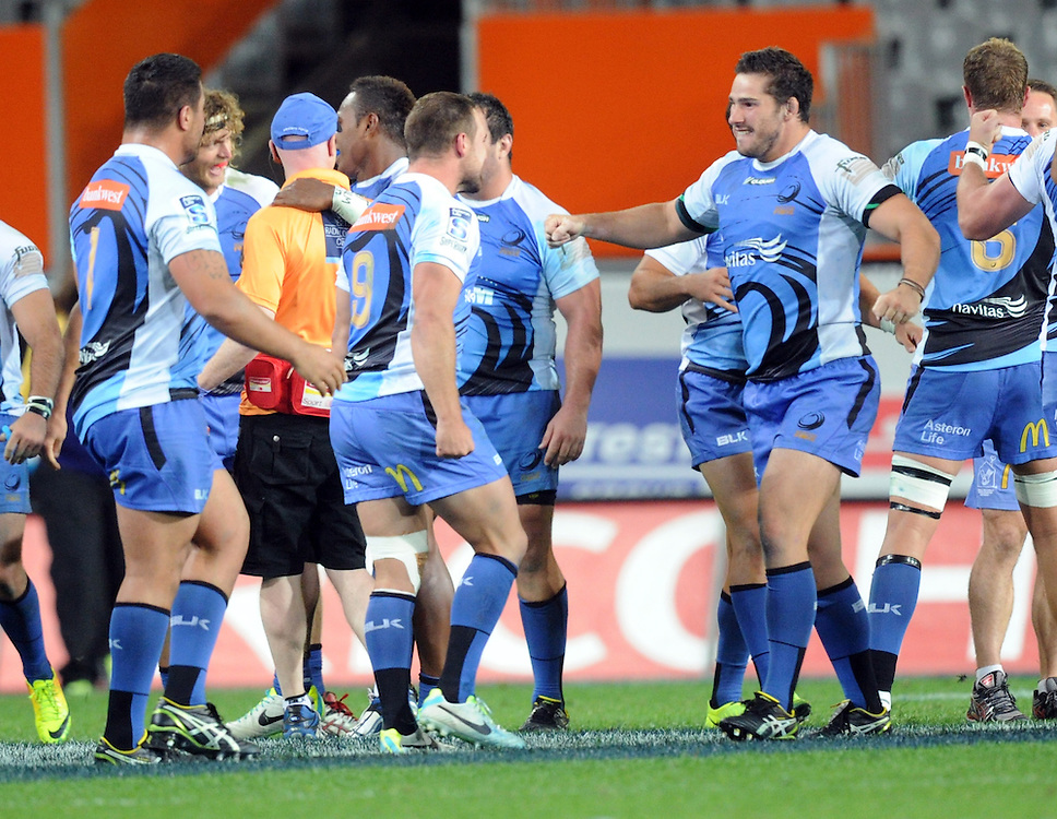 The Force celebrate their 31-29 win over the Highlanders in the Super Rugby match at Forsyth Barr Stadium, Dunedin, New Zealand, Saturday, March 15, 2014. Credit:SNPA / Ross Setford