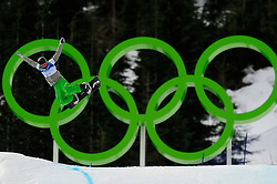 Olympic Winter Games Vancouver 2010 - Olympische Winter Spiele Vancouver 2010, Snowboard (Ladies' Snowboard Cross), Stian Sivertzen of Norway soars above the Olympic rings during a men's snowboard cross qualifying run at Cypress Mountain in Vancouver BC, Canada during the 2010 Winter Olympics Monday February 15, 2010..Photo by newsport / HOCH ZWEI / SPORTIDA.com.... *** Local Caption *** +++ www.hoch-zwei.net +++ copyright: HOCH ZWEI / newsport +++