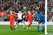 Steph Houghton (5) of England is unable to make the breakthrough during the FIFA Women's World Cup UEFA Qualifier match between England Ladies and Wales Women at the St Mary's Stadium, Southampton, England on 6 April 2018. Picture by Graham Hunt.