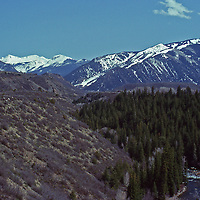 The Roaring Fork Valley and  Aspen Mountain in Aspen Colorado