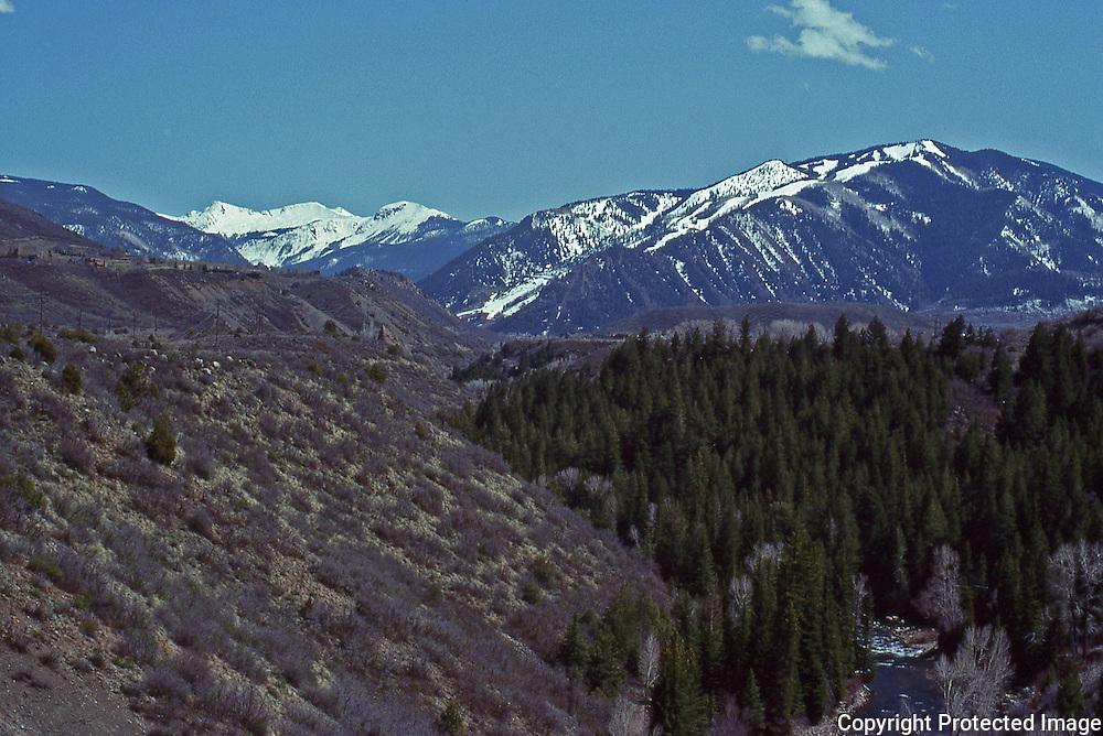 The Roaring Fork Valley and  Aspen Mountain in Aspen Colorado