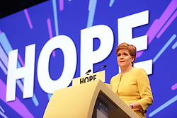 Nicola Sturgeon delivering her speech to the SNP spring conference. pic copyright Terry Murden @edinburghelitemedia
