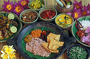 A spread of Sri Lankan dishes. Red Rice and assorted curries.