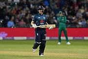 England win - Eoin Morgan of England scores the winning run during the third Royal London One Day International match between England and Pakistan at the Bristol County Ground, Bristol, United Kingdom on 14 May 2019.