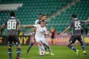(C) Legia's Miroslav Radovic fights for the ball during the UEFA Europa League Group J football match between Legia Warsaw and Apollon Limassol FC at Pepsi Arena Stadium in Warsaw on October 03, 2013.<br /> <br /> Poland, Warsaw, October 03, 2013<br /> <br /> Picture also available in RAW (NEF) or TIFF format on special request.<br /> <br /> For editorial use only. Any commercial or promotional use requires permission.<br /> <br /> Mandatory credit:<br /> Photo by &copy; Adam Nurkiewicz / Mediasport
