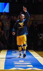 Feb 6, 2016; Morgantown, WV, USA; West Virginia Mountaineers guard Jevon Carter (2) is announced before their game against the Baylor Bears at the WVU Coliseum. Mandatory Credit: Ben Queen-USA TODAY Sports