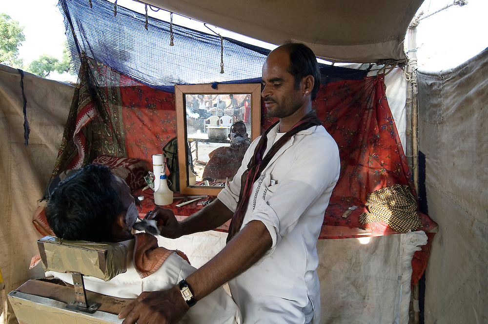 During the famous Pushkar Camel Fair in the Thar desert of Rajasthan, many people have their small mobile businesses in tents.