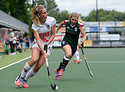 Amsterdam's Kimberley Thompso looks to set up an attack during the bronze medal match at the EHCC 2017 at Den Bosch HC, The Netherlands, 5th June 2017