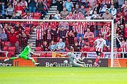 Chris Maguire (#7) of Sunderland AFC scores the second goal during the EFL Sky Bet League 1 match between Sunderland and Portsmouth at the Stadium Of Light, Sunderland, England on 17 August 2019.