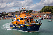 The Royal National Lifeboat Institution RNLI Dover Life boat (17-09) arriving into Folkestone Harbour, Folkestone, Kent. UK.. (photo by Andrew Aitchison / In pictures via Getty Images)