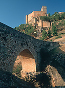 SPAIN, CASTILE and LA MANCHA Alarcon Castle, 14th c., above the Rio Jucar, one of Spain's most beautiful; castles; located west of Valencia