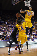 Tim Quaterman(55) and Ben Simmons(25) LSU beats out Daniel House(55) on a rebound. LSU defeats Texas A&M 76-71 in Baton Rouge, Louisiana. Photo BY: Jerome Hicks/ Space City Images