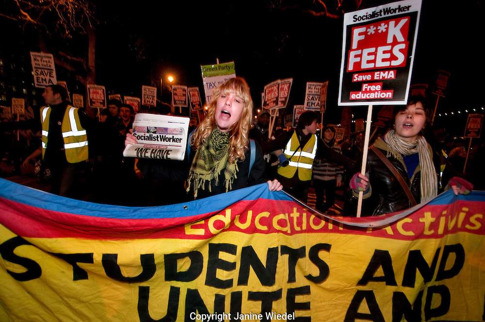 Student protest against cuts to Educational Maintenance Allowance EMA January 2011.