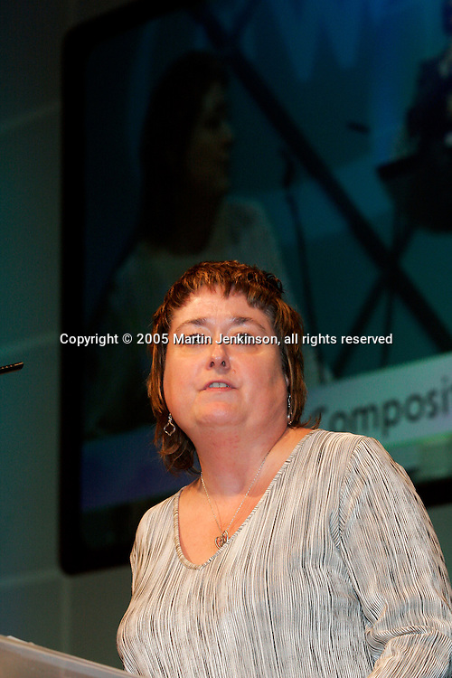 Denise McGuire, Connect President, speaking at the 2005 TUC..© Martin Jenkinson, tel 0114 258 6808 mobile 07831 189363 email martin@pressphotos.co.uk. Copyright Designs & Patents Act 1988, moral rights asserted credit required. No part of this photo to be stored, reproduced, manipulated or transmitted to third parties by any means without prior written permission