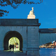 France. Paris. 1st district . The Seine river and Paris city center view from the quay du Louvre along the Seine river/ Le quai du Louvre longe la Seine