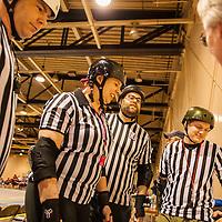 Reffs..Pittsburgh, PA, Steel Hurtin' VS. the Ohio Roller Girls All Stars..Pittsburg PA Steel Beamers VS. Ohio Roller Girls Gang Green ..6 April 2013: at Louche Building - Ohio Expo Center in Columbus, Ohio. Dorn Byg/Byg Day LLC