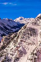 The Maroon Bells, Snowmass (Aspen) ski resort, Colorado USA.