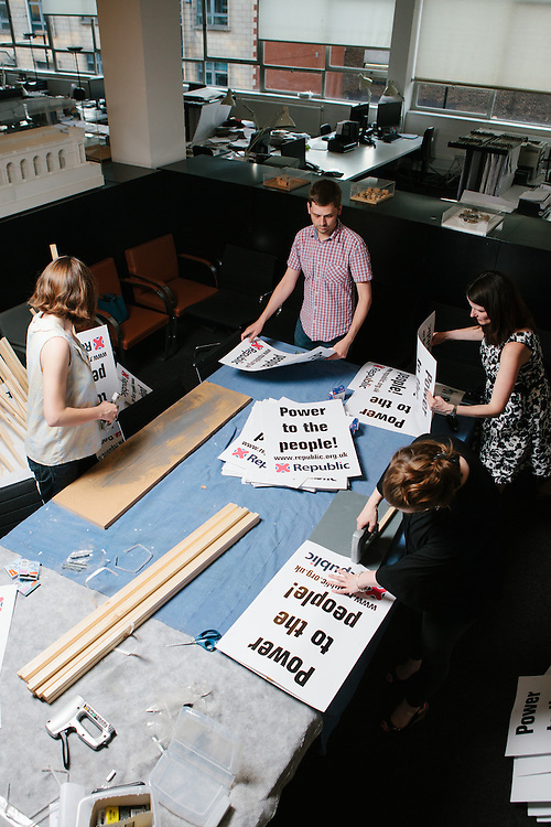 Members of the anti-monarchist group, Republic, prepare placards ahead of the Queen's jubilee. London, 28th May 2012.