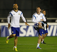 Lionel Messi (captain) of Argentina (R) and Javier Mascherano of Argentina during the Argentina training session at the Est&aacute;dio S&atilde;o Janu&aacute;rio, Rio de Janeiro, ahead of tomorrow's World Cup Final.<br /> Picture by Andrew Tobin/Focus Images Ltd +44 7710 761829<br /> 12/07/2014