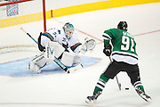 DALLAS, TX - OCTOBER 17:  Antti Niemi #31 of the San Jose Sharks prepares for a shot by Tyler Seguin #91 of the Dallas Stars during a shootout on October 17, 2013 at the American Airlines Center in Dallas, Texas.  (Photo by Cooper Neill/Getty Images) *** Local Caption *** Antti Niemi