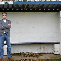 Lochee Junior FC manager Ray McKinnon pictured at the clubs ground, Thompson Park Dundee, ahead of the clubs Scottish cup tie against Ayr Utd<br /> Picture by Graeme Hart.<br /> Copyright Perthshire Picture Agency<br /> Tel: 01738 623350  Mobile: 07990 594431
