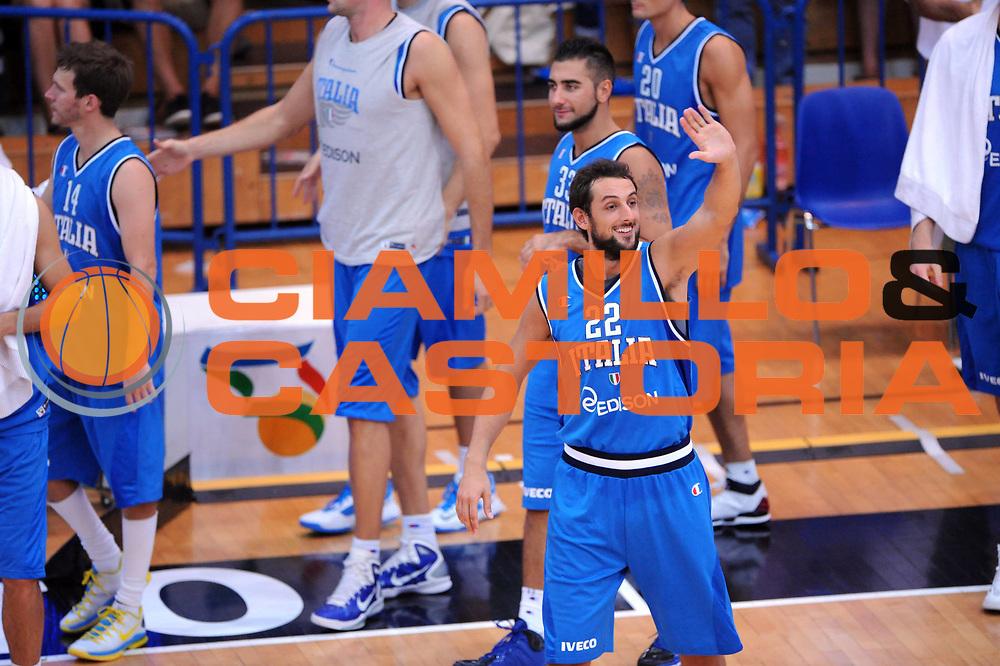 DESCRIZIONE : Trento Trentino Basket Cup Italia Polonia<br /> GIOCATORE : Marco Belinelli <br /> CATEGORIA : Esultanza<br /> SQUADRA : Nazionale Italia Maschile<br /> EVENTO :  Trento Trentino Basket Cup<br /> GARA : Italia Polonia<br /> DATA : 09/08/2013<br /> SPORT : Pallacanestro<br /> AUTORE : Agenzia Ciamillo-Castoria/Max.Ceretti<br /> Galleria : FIP Nazionali 2013<br /> Fotonotizia : Trento Trentino Basket Cup Italia Israele<br /> Predefinita :