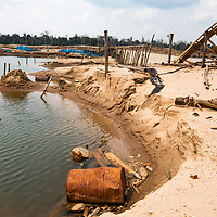 Sluices, shelters, and other infrastructure destroyed by the military are part of the aftermath of illegal and unofficial alluvial gold mining after miners were forceably removed from the area, showing local pollution and the massive deforestation associated with the process. Following Peru's February 2019 militarized crackdown on illegal and unofficial alluvial gold mining in the La Pampa region of Madre de Dios, Wake Forest University's Puerto Maldonado-based Centro de Innovación Científica Amazonia (CINCIA), a leading research institution for the development of technological innovation for biological conservation and environmental restoration in the Peruvian Amazon, is applying years of scientific research and technical experience related to understanding mercury contamination and managing Amazonian ecosystems. What they learn will help guide urgent remediation, restoration, and reforestation efforts that can also serve as models for how we address the tropic's most dramatically devastated landscapes around the world. La Pampa, Madre de Dios, Peru.