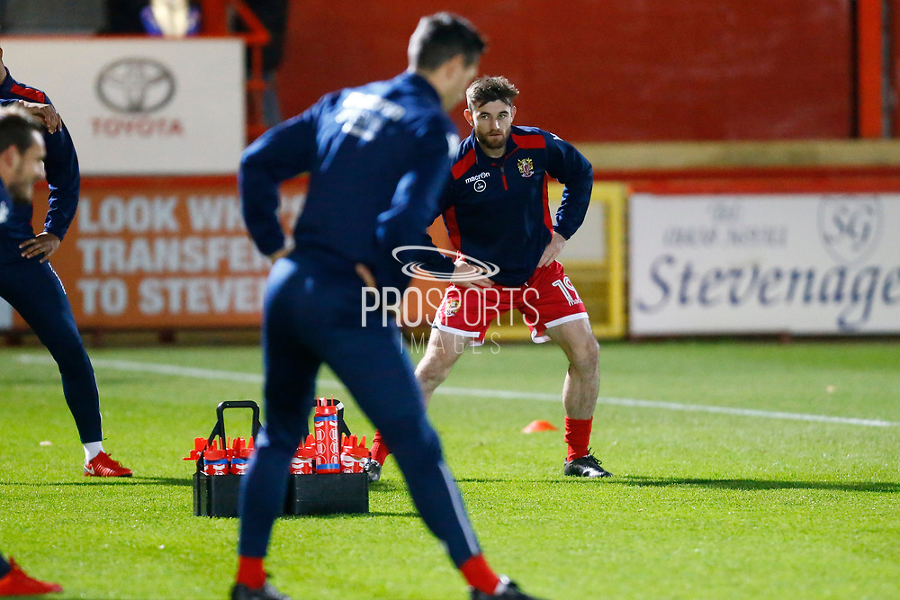 Stevenage's forward Alex Samuel warms up during the EFL Sky Bet League 2 match between Stevenage and Coventry City at the Lamex Stadium, Stevenage, England on 21 November 2017. Photo by Matt Bristow.