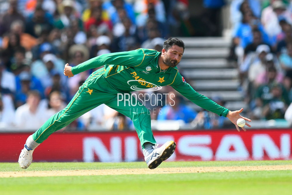 Junaid Khan of Pakistan fields from his own bowling during the ICC Champions Trophy final match between Pakistan and India at the Oval, London, United Kingdom on 18 June 2017. Photo by Graham Hunt.