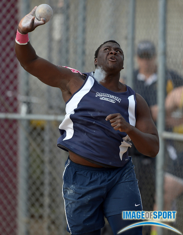 Apr 12, 2014; Arcadia, CA, USA; Dotun Ogundji of San Diego Madison wins the shot put at 65-1 3/4 in the 47th Arcadia Invitational at Arcadia High.
