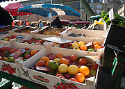 Rennes, FRANCE. General Views GV's. Rennes weekly regional market. Brittany,<br /> Vegetable's, Fruit, Flowers, Fish, Game, Meat, Cheese, local wine and cider, sold from stalls in the open and covered market  <br /> <br /> 09:14:09  Saturday  26/04/2014 <br /> <br />  [Mandatory Credit: Peter Spurrier/Intersport<br /> Images]