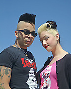 A Rockabilly couple posing in front of the camera, Viva Las Vegas Festival, Las Vegas, USA 2006.